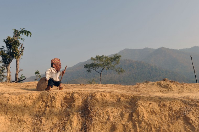 Chandra Bahadur Dangi, a 72-year-old Nepali who claims to be the world's shortest man at 56 centimetres (22 inches) in height, walk near his home in Reemkholi village in Dang district, some 540 kilometres southwest of Kathmandu on February 21, 2012. Dangi will embark to the capital city as Guinness World Records experts are due to arrive in Nepal to measure a 72-year-old claiming to be the world's shortest man. (Prakash Mathema/Getty Images)