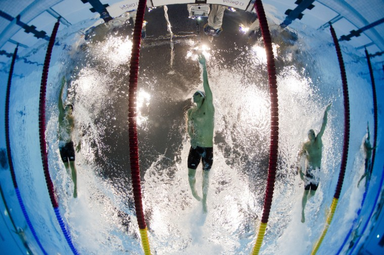 US swimmer Michael Phelps competes in the men's 200m individual medley heats swimming event at the London 2012 Olympic Games on August 1, 2012 in London. (Francois Xavier Marit/GettyImages)