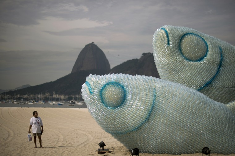 A woman looks at an installation made of recycled plastic bottles representing fishes, in Botafogo beach, in Rio de Janeiro, on June 19, 2012, in the sidelines of the UN Conference on Sustainable Development, Rio+20. The UN conference, which marks the 20th anniversary of the Earth Summit -- a landmark 1992 gathering that opened the debate on the future of the planet and its resources -- is the largest ever organized, with 50,000 delegates. (Christophe Simon/Getty Images)