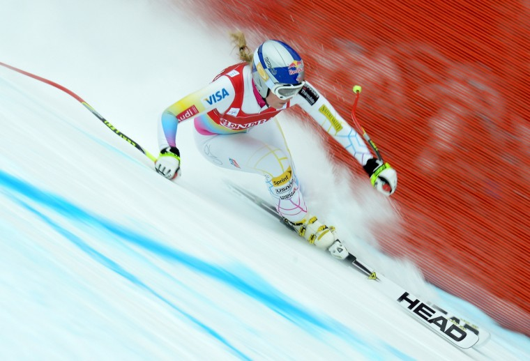 Lindsey Vonn of US competes in the women's Alpine Skiing World Cup downhill in Lake Louise on December 1, 2012. Lindsey Vonn of the US won ahead of Stacey Cook of the US and Marianne Kaufmann-Abderhalden of Switzerland. Maze took tenth place. (Joe Klamar/Getty Images)