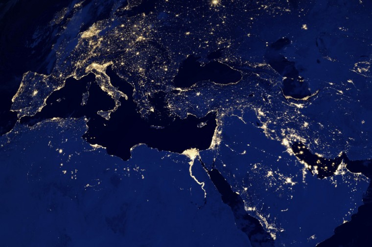 Europe, North Africa and the Middle East at night. (NASA Earth Observatory)