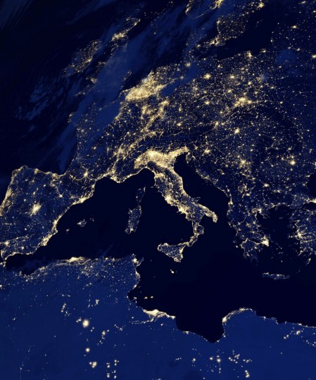 Europe and North Africa at night. (NASA Earth Observatory)