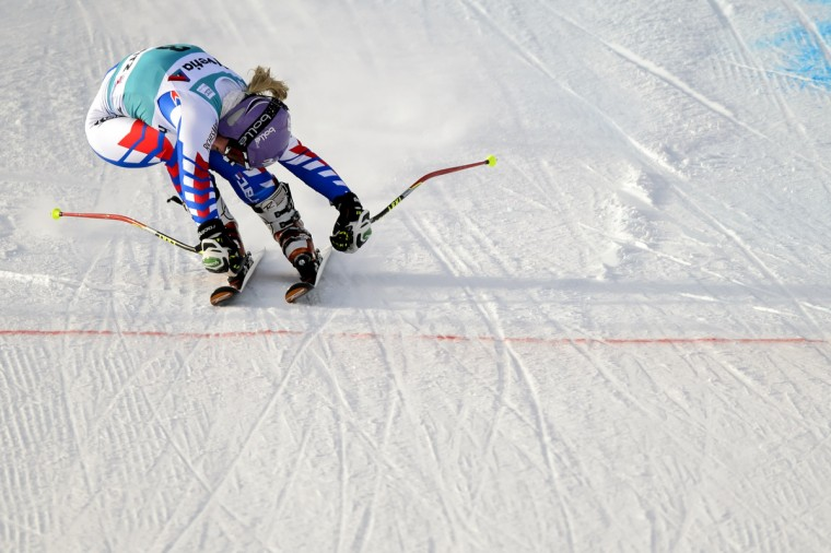 Tessa Worley of France crosses the finish line to place third of the women's Alpine skiing World Cup giant slalom on December 9, 2012 in St. Moritz. Slovenia's Tina Maze led by over half a second after the first run and held on to take top spot and 100 World Cup points ahead of Germany's Viktoria Rebensburg and Tessa Worley of France. (Fabrice Coffrini/Getty Images)