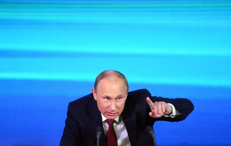 Russia's President Vladimir Putin holds the first major press conference of his third term in power in Moscow. Putin denied playing a role in the surprise reduction in the jail sentence of former oil tycoon and opposition leader Mikhail Khodorkovsky. (Natalia Kolesnikova/Getty Images)