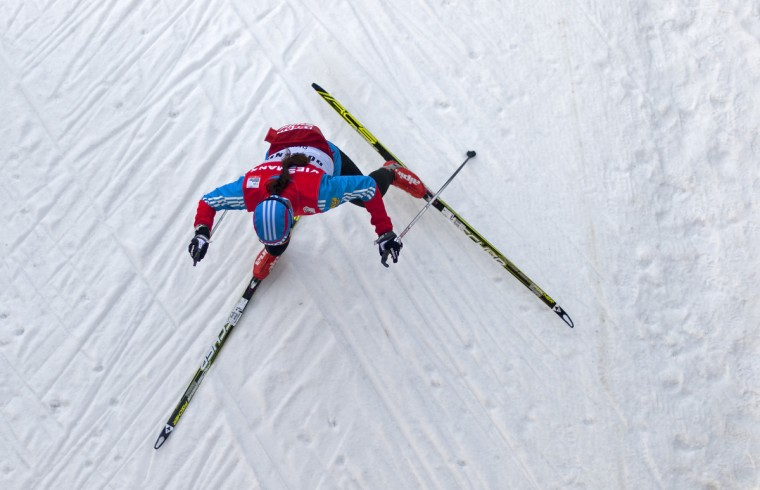 An athlete trains during the official practice session of the Tour de Ski event on December 28, 2012 in Oberhof, eastern Germany. The winter sport resort in the Thuringian Forest is to host the Tour de Ski cross-country event taking place on December 29 and 30, 2012. (Robert Michael/Getty Images)