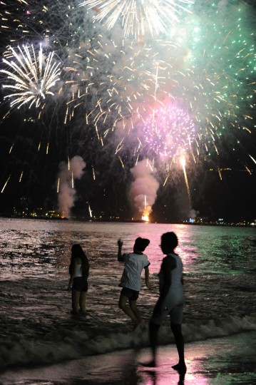 Fireworks illuminate the night sky before Sugar Loaf Mountain in Rio de Janeiro during New Year's Eve festivities. (Vanderlei Ameida/Getty Images)