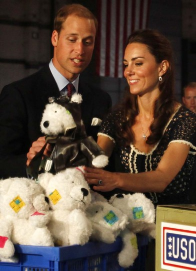 Prince William, Duke of Cambridge and Catherine, Duchess of Cambridge help pack care packages for military children at the Mission Serve: Hiring Our Heroes event on July 10, 2011 in Culver City, California. The newly married Royal Couple are on the final day of their first joint overseas tour to the USA. (Francine Orr - Pool/Getty Images)