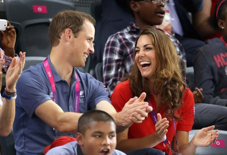 Prince William, Duke of Cambridge and Catherine, Duchess of Cambridge share a joke as they clap whilst watching the track cycling on Day 1 of the London 2012 Paralympic Games at the Velodrome on August 30, 2012 in London, England. (Chris Jackson/Getty Images)
