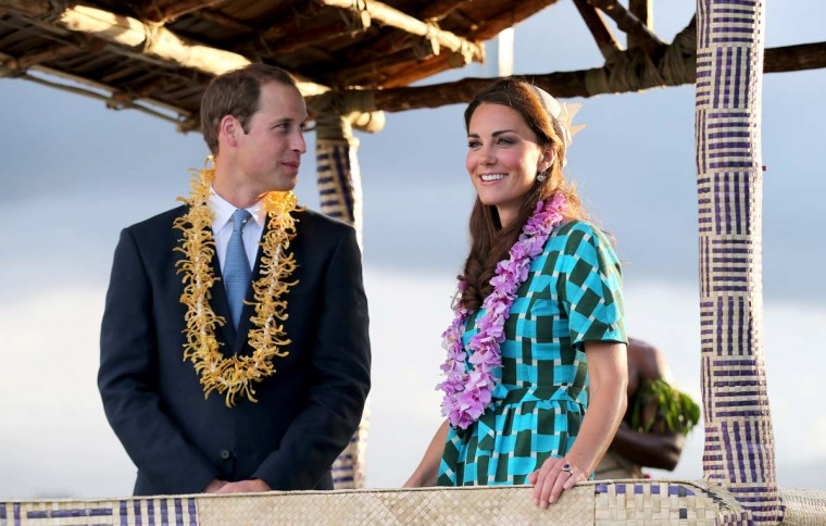 Prince William, Duke of Cambridge and Catherine, Duchess of Cambridge travel in a special boat vehicle as they arrive at Honiara International Airport during their Diamond Jubilee tour of the Far East on September 16, 2012 in Honiara, Guadalcanal Island. (Chris Jackson/Getty Images)