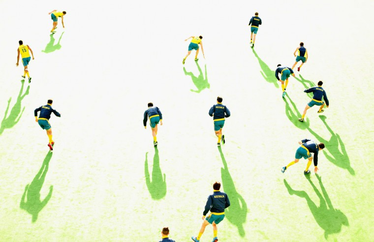 Australian players warm up before the match between the Australia and Pakistan during day three of the Champions Trophy at State Netball Hockey Centre in Melbourne, Australia. (Scott Barbour/Getty Images)