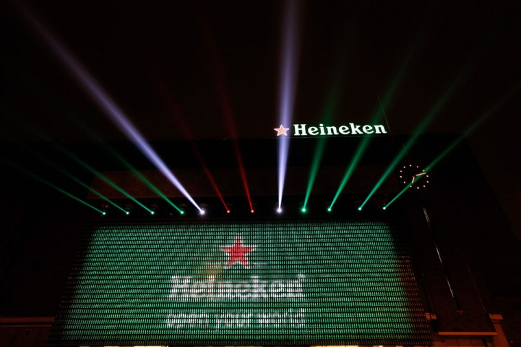 A general view of the Heineken Light Installation at Heineken Experience in Amsterdam, Netherlands. Heineken marks its 140-year anniversary by inviting people to be part of the celebration in a major light installation on the wall of its spiritual home, brought to life through social media. (Dean Mouhtaropoulos/Getty Images for Heineken)