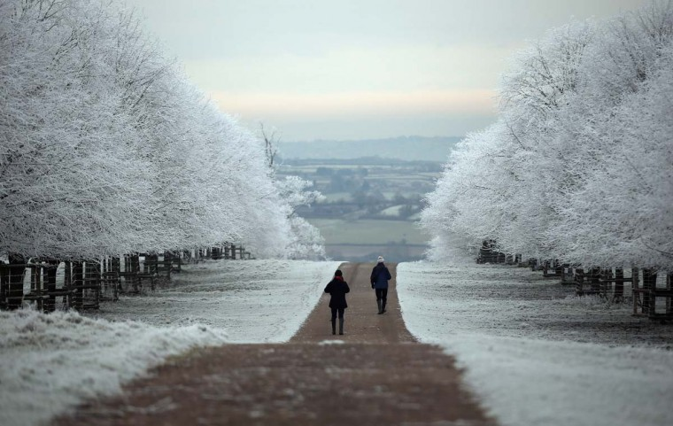 People are seen out for a walk as frost lingers on the trees at Dyrham Park on December 12, 2012 near Bath, England. (Matt Cardy/Getty Images)