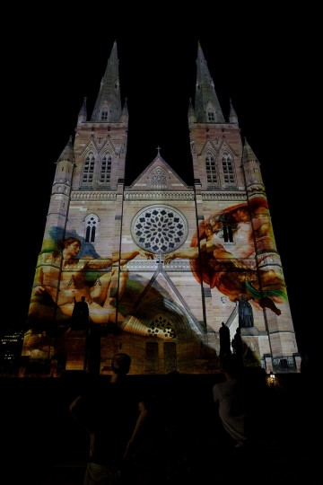 "The ""Lights of Christmas"" are featured at St. Mary's Cathedral on December 13 in Sydney, Australia. Produced by Creative Director Anthony Bastic, the stunning illuminations are projected over the 75-meter high and 33-meter wide facade of the sandstone cathedral. (Lisa Maree Williams/Getty Images)"