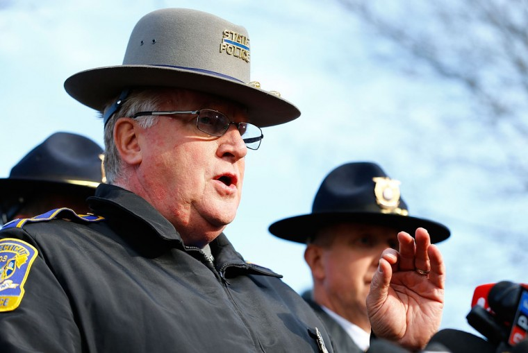 Connecticut State Police spokesman Lt. J. Paul Vance briefs the media and answers questions about the Sandy Hook Elementary School shooting during a press conference in Newtown, Conn. At least 26 people were killed, including 20 children, after a gunman opened fire at the school. (Jared Wickerham/Getty Images)