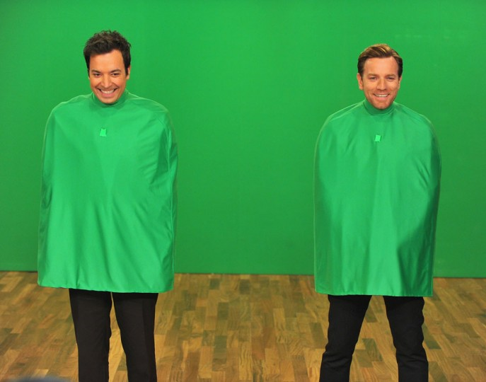 Jimmy Fallon and Ewan McGregor perform a skit during a taping of 'Late Night With Jimmy Fallon' at Rockefeller Center on December 17, 2012 in New York City. (Theo Wargo/Getty Images)