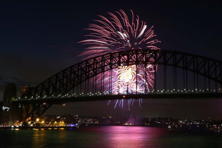 Fireworks light up the sky during the nine o'clock show during New Years Eve celebrations on Sydney Harbour on December 31, 2012 in Sydney, Australia. (Cameron Spencer/Getty Images)
