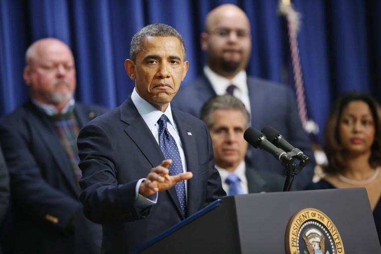 U.S. President Barack Obama delivers remarks about the fiscal cliff negotiations in the Eisenhower Executive Office Building next to the White House December 31, 2012 in Washington, DC. Obama said he was hopeful that an agreement could be found to avert the fiscal cliff in Congress, which is closing in on a deal that would raise taxes on households that make more than $450,000 a year and individuals who make more than $400,000. (Chip Somodevilla/Getty Images)