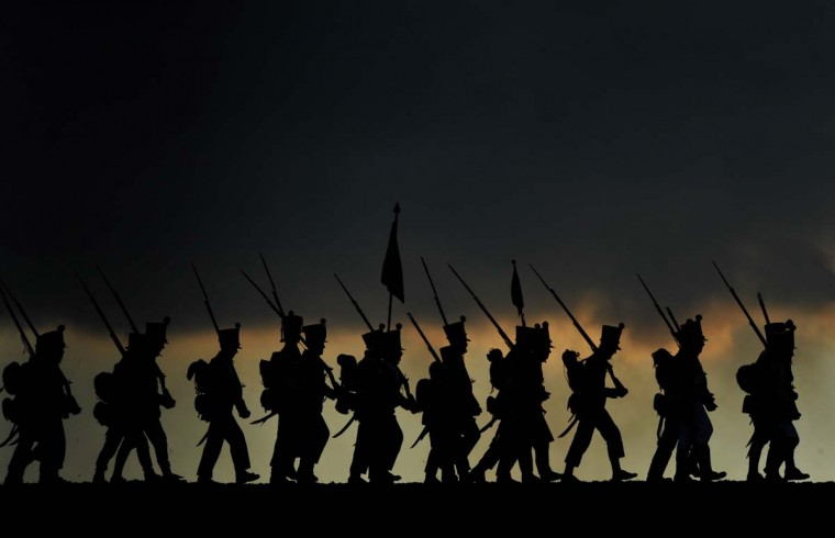 History enthusiasts dressed as soldiers take part in a re-enactment of Napoleon's 1805 Battle of Austerlitz near the South Moravian city of Slavkov on December 1, 2012. (Michal Cizek/AFP/Getty Images)