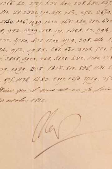 A photo taken on October 31, 2012 in Paris, shows a coded letter signed by French Emperor Napoleon Ier. The document, in which Napoleon vows to blow up the Kremlin, was sold at auction for 150,000 euros December 2, 2012, on the anniversary day of Austerlitz battle and Napoleon's coronation. (Kenzo Tribouillard/AFP/Getty Images)