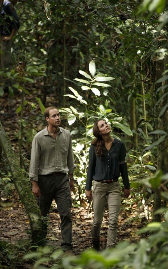 A picture dated September 15, 2012 shows Britain's Prince William (L) and his wife Catherine, the Duchess of Cambridge, walking through the rainforest in Danum Valley Research Center in Danum Valley, some 70 kilometers west of Lahad Datu, on the island of Borneo. (Vincent Thian/AFP/Getty Images)