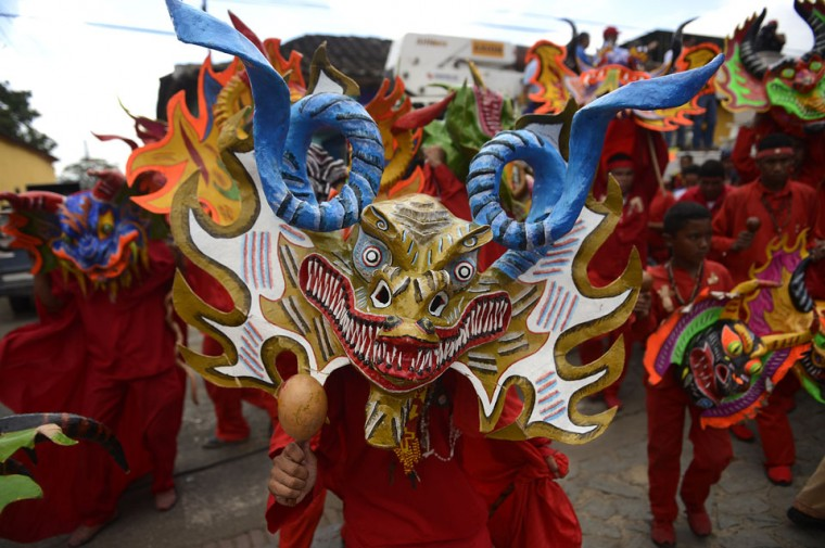 Members of the Dancing Devils perform during a demonstration in the Venezuelan village of Yare, Miranda State. On December 6, the UNESCO declared the Dancing Devils as an Intangible Cultural Heritage of Humanity. (Juan Barreto/AFP/Getty Images)