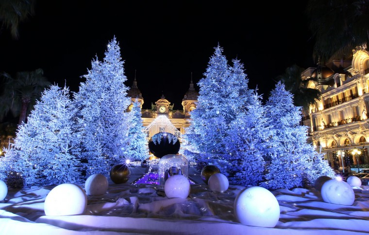 Christmas lights and decorations are seen in front of the Monte Carlo casino in Monaco. (Jean-Christophe Magnenet/AFP/Getty Images)