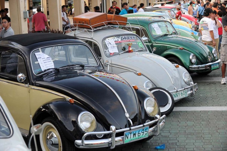 Vintage Volkswagen Beetle cars are parked for an all Volkswagen car show in suburban Manila on December 9, 2012. Clubs all over the country gather every December for the event, with more than 200 Volkswagens on display. (Jay Directo/AFP/Getty Images)