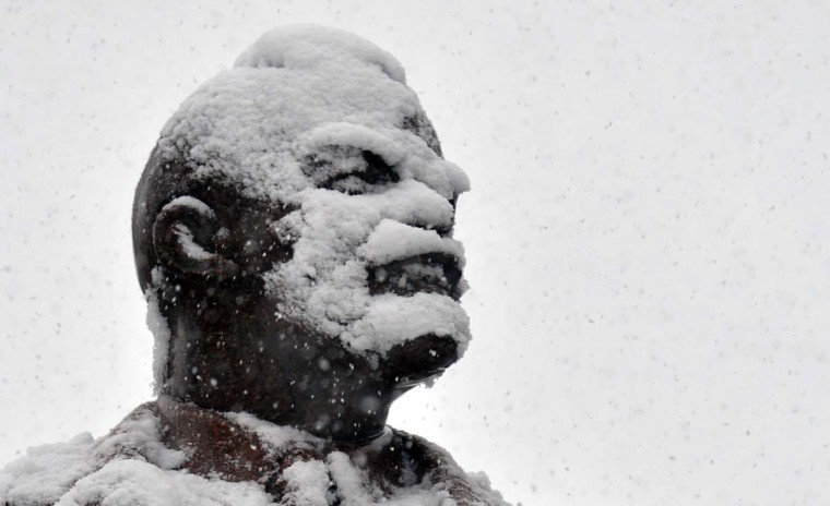 Lenin's statue is covered with snow during heavy snowfall over Kiev, on December 11, 2012. (Sergei Supinsky/AFP/Getty Images)