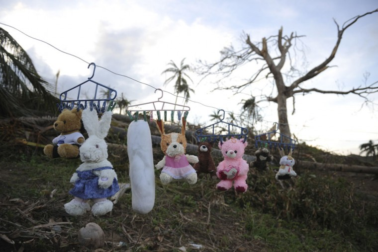 Stuffed toys are hung up to dry next to a damaged tree at a village in Bsoton town, Davao Oriental in the aftermath of Typhoon Bopha. The United Nations launched a 65 million USD global appeal on December 10, 2012 to help desperate survivors of a typhoon that killed more than 600 people and affected millions in the southern Philippines. (Ted Aljibe/AFP/Getty Images)