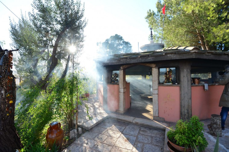 The Dhuni, or holy fire, burns at the Bhole Baba spiritual center in Cisternino, Italy. Cisternino is one of the few places on earth believed to be spared when the world ends, which some interpretations of the ancient Mayan calendar predict to be on December 21, 2012. (Guiseppe/Cacace/AFP/Getty Images)