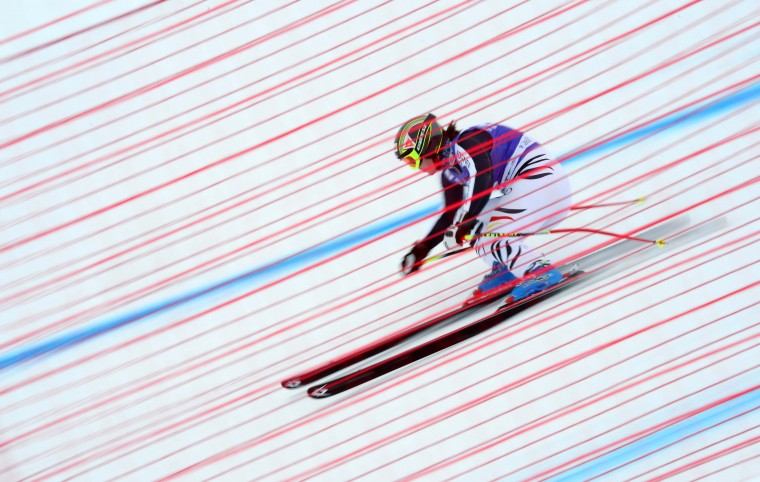 Gina Stechert of Germany skis during the women's downhill training of the FIS Ski World cup in Val d'Isere, French Alps. (Franck Fife/Getty Images)