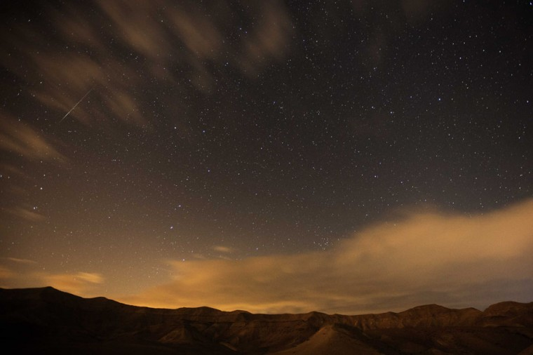 Geminid meteor streaks are seen above the Judean desert near the Israeli Kibbutz of Ein Gedi early December 14, 2012. (Menahem Kahana/AFP/Getty Images)