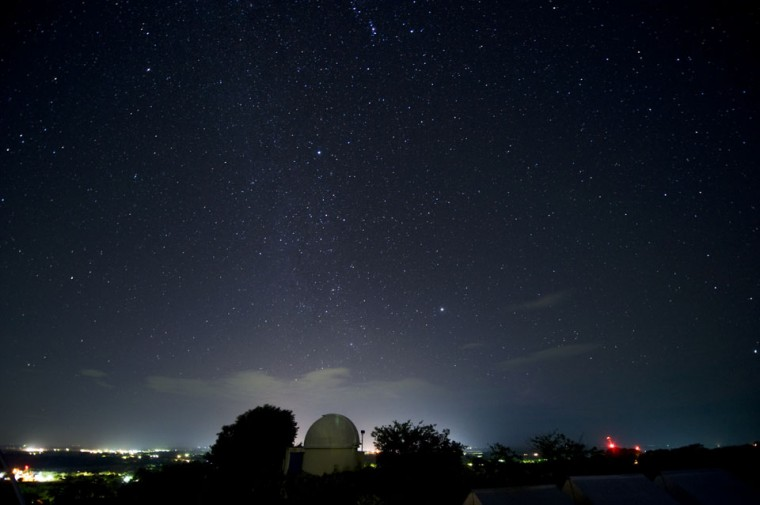 This general view shows the Geminids meteor shower from the Prudencio Llach observatory in San Juan Talpa, 40 kms south of San Salvador on December 13, 2012. (Jose Cabezas/AFP/Getty Images)