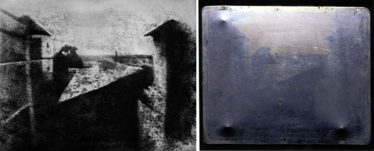 This combo shows the handout reproduction made available by the Reiss-Engelhorn-Museum shows the photograph 'View from the Window at Le Gras' (L) by French inventor Joseph Nicephore Niepce from the year 1826, which was the first successful permanent photograph known in the world and the plate used to make it (R). The photograph is on display at an exhibition 'The Birth of Photography' taking place from September 9, 2012 to January 6, 2013 at the Reiss-Engelhorn-Museum in Mannheim, southern Germany. (HO/Reiss-Engelhorn-Museen/Joseph Nicephore Niepce (Reproduction by Helmut Gernsheim)/AFP/Getty Images)