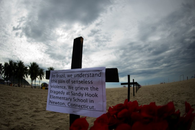 The Brazilian association Rio de Paz (Rio of Peace) paid tribute to the victims of the Sandy Hook Elementary School shooting on the beach of Copacabana in Rio de Janeiro on December 15, 2012. World leaders expressed shock and horror after a gunman massacred 20 children in the Connecticut shooting. (Christophe Simon/AFP/Getty Images)