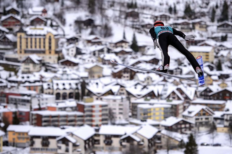 Germany's Andreas Wellinger soars through the air to place second ex-aequo in the FIS World Cup competition on December 16, 2012 in Engelberg, central Switzerland. (Fabrice Coffrini/AFP/Getty Images)