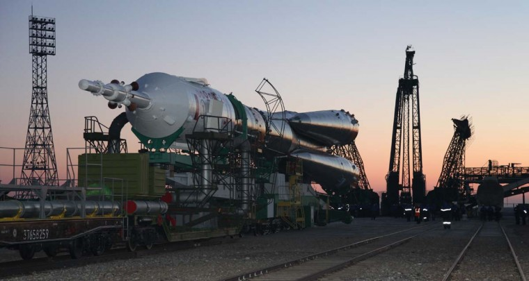 The Soyuz TMA-07M spaceship is transported to a launch pad at the Russian leased Kazakh Baikonur cosmodrome, on December 17, 2012. The launch of the of the next expedition to the International Space Station including Canadian astronaut Chris Hadfield, Russian cosmonaut Roman Romanenko and U.S. astronaut Tom Marshburn, is scheduled on December 19. (AFP/Getty Images)