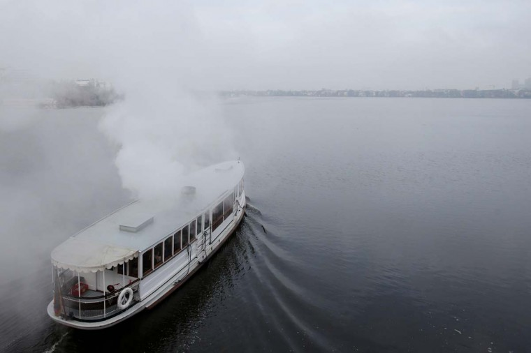 A vintage steam barge is pictured on December 17, 2012 in Hamburg, northern Germany. (Male Christians/AFP/Getty Images)