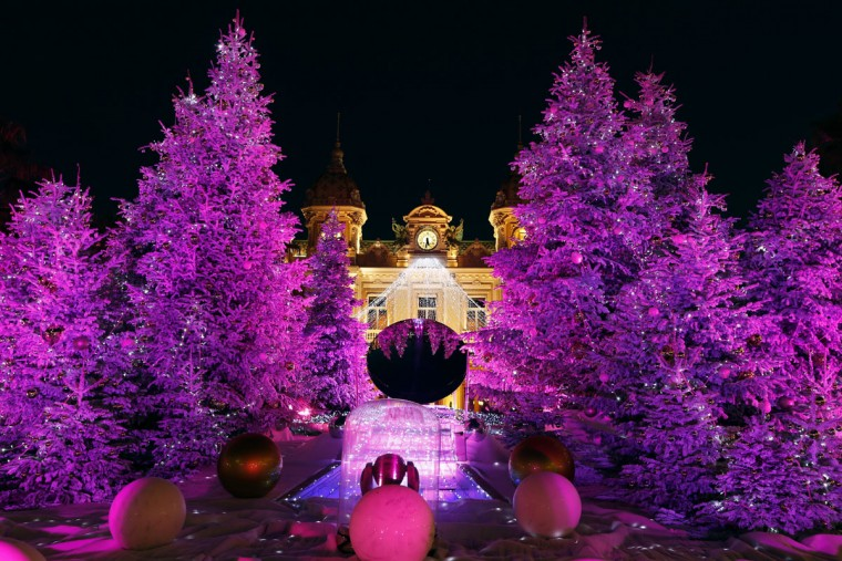 Christmas lights and trees are put on display in front of the Monte Carlo casino in Monaco. (Valery Hache/AFP/Getty Images)