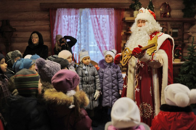 Ded Moroz (Grandfather Frost), the Russian Santa Claus, meets children to mark the upcoming New Year's holiday, at Ded Moroz' residence in Kuzminsky Park in the south-east of Moscow. New Year's is the biggest holiday of the year in Russia. (Natalia Kolesnikova/AFP/Getty Images)
