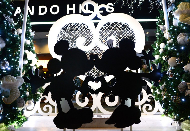 A Mickey and Minnie Mouse light display is displayed outside a shopping mall in Tokyo as a part of decorations ahead of Christmas. Although Christians only account for around only one percent of Japan's population, people usually celebrate the holiday by spending time with their sweethearts and exchanging gifts. (Toshifumi Kitamura/AFP/Getty Images)