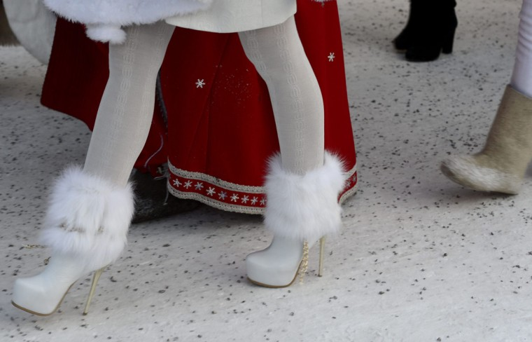 The shoes of a snow maiden are pictured during a symbolic meeting of Father Frost and Santa Claus at the Nuijamaa border station between Finland and Russia in Lappeenranta, Finland, on December 23, 2012. (Heikki Saukkomaa/AFP/Getty Images)