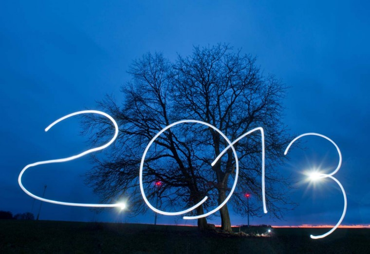 "Posed picture taken with long exposure time on December 26, 2012 shows the year ""2013"" being written in the evening sky with an electric torch near Sieversdorf, eastern Germany. (Patrick Pleul/AFP/Getty Images)"