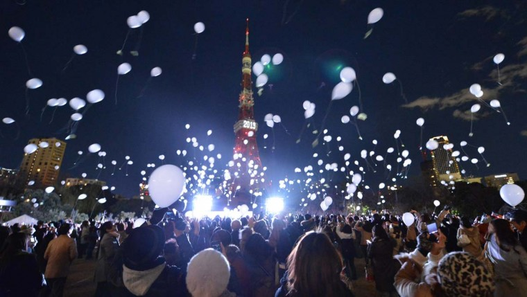 People release balloons to celebrate the New Year's during an annual countdown ceremony produced by the Prince Park Tower Tokyo, flagship of the Prince hotel chain in Tokyo on January 1, 2013. Some 1,000 balloons were released in the air with the visitors wishes. (Kazuhiro Nogi/AFP/Getty Images)