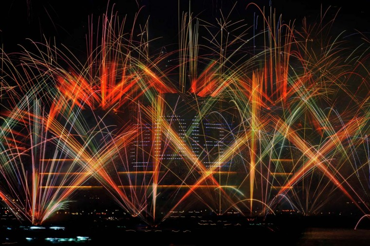 Fireworks explode over Victoria harbour to celebrate the new year, in Hong Kong on January 1, 2013. (Antony Dickson/AFP/Getty Images)