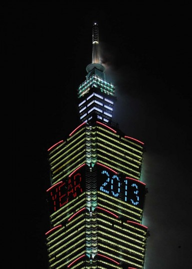 New Year 2013 is shown on the Taipei 101 building to mark the new year in Taipei on January 1, 2013. In line with the countdown will be a 188-second firework show to be presented by the Taipei 101, a 509-metre-high skyscraper and once the world's tallest building which is just hundreds of metres away from the city hall square. (Sam Yeh/AFP/Getty Images)