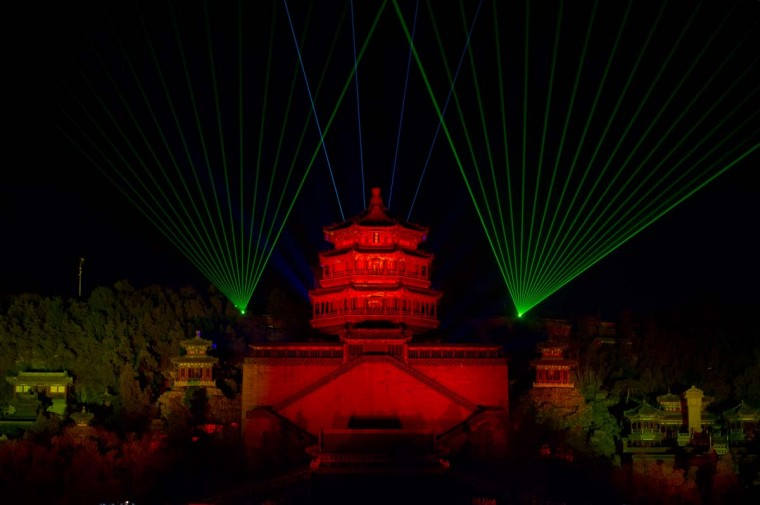A lightshow illuminates the Summer Palace during a new year during a count-down event at the Summer Palace in Beijing on December 31, 2012. (Ed Jones/AFP/Getty Images)