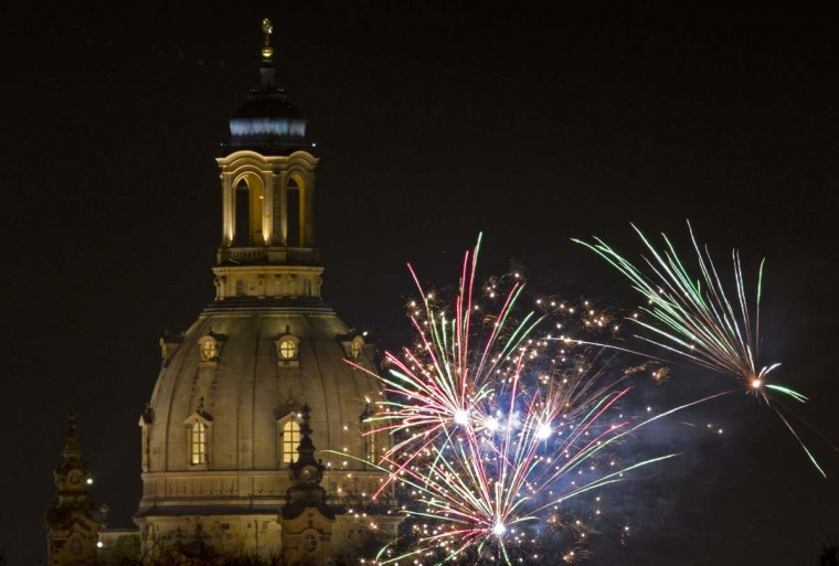 Fireworks explode over Dresden's Church of Our Lady (Frauenkirche) on New Year's Eve on December 31, 2012 in Dresden, eastern Germany. (Robert MichaelAFP/Getty Images)