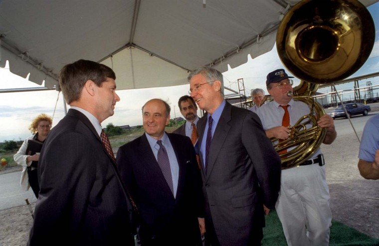 "SEPTEMBER 21, 2000: Governor Parris Glendenning is greeted by Van R. Reiner, left, the president of the Sparrows Point Division of Bethlehem Steel and Duane R. Dunham, center, the chairman, president and Chief Executive Officer of Bethlehem Steel, at ceremonies unvailing the new $300 million cold sheet mill known at Sparrows Point as ""The Field of Dreams."" (Jed Kirschbaum/Baltimore Sun)"