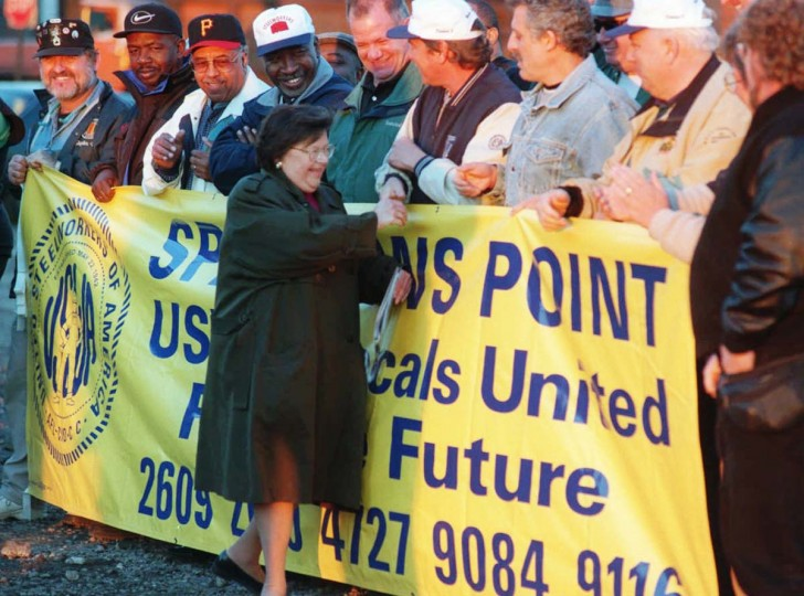 OCTOBER 29, 1997: Bethlehem Steel workers shake hand with Senator Barbara Mikulski after she arrived for the press conference at the Sparrow's Point steel plant announcing the building of a new 1.5 million square-foot, $300 million cold rolling mill complex by Bethlehem Steel Corp. (Kenneth K. Lam/Baltimore Sun)